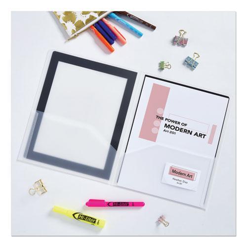 Flexi-View Two-Pocket Polypropylene Folder, Translucent/Black, 2/Pack. Picture 5