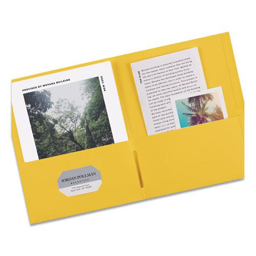Two-Pocket Folder, 40-Sheet Capacity, Yellow, 25/Box. Picture 7