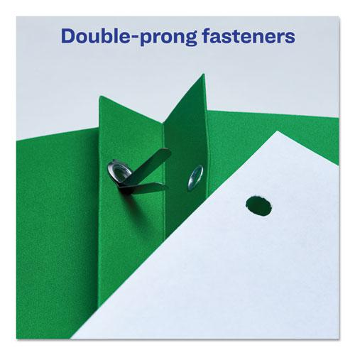 """Two-Pocket Folder, Prong Fastener, Letter, 1/2"""" Capacity, Green, 25/Box. Picture 4"""