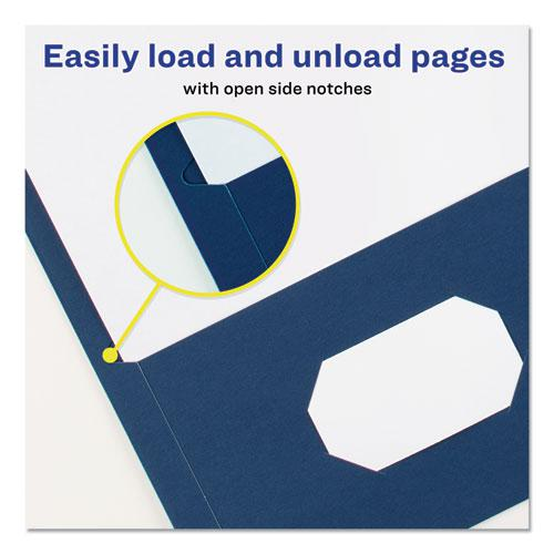 Two-Pocket Folder, 40-Sheet Capacity, Dark Blue, 25/Box. Picture 7