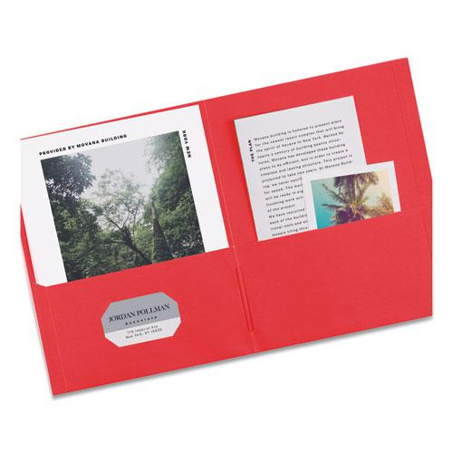 Two-Pocket Folder, 40-Sheet Capacity, Red, 25/Box. Picture 7