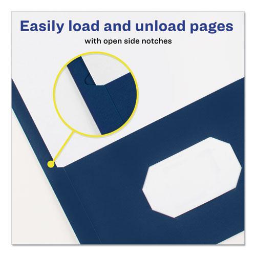 "Two-Pocket Folder, Prong Fastener, Letter, 1/2"" Capacity, Dark Blue, 25/Box. Picture 4"