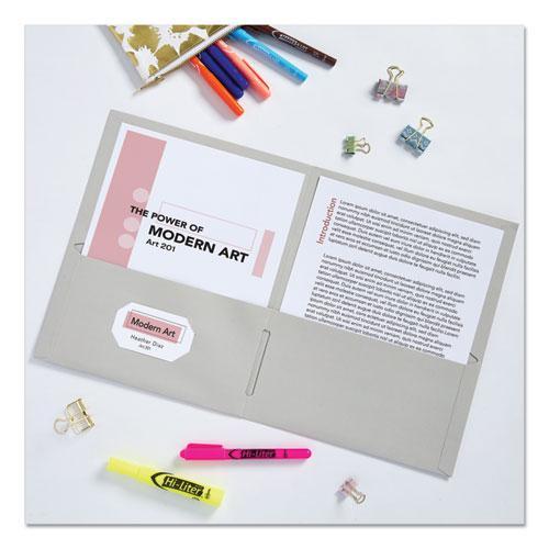 Two-Pocket Folder, 40-Sheet Capacity, Gray, 25/Box. Picture 2