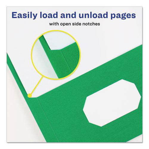 """Two-Pocket Folder, Prong Fastener, Letter, 1/2"""" Capacity, Green, 25/Box. Picture 6"""