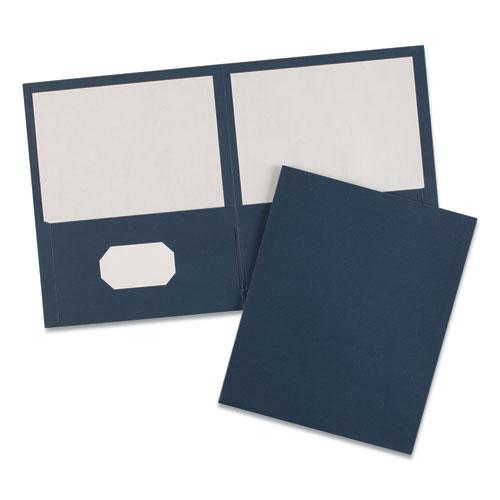 Two-Pocket Folder, 40-Sheet Capacity, Dark Blue, 25/Box. Picture 5