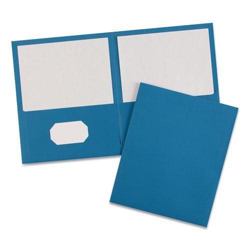 Two-Pocket Folder, 40-Sheet Capacity, Light Blue, 25/Box. Picture 4