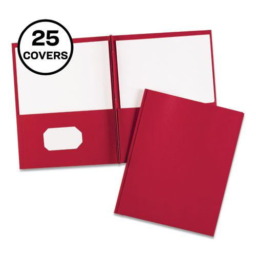 """Two-Pocket Folder, Prong Fastener, Letter, 1/2"""" Capacity, Red, 25/Box. Picture 1"""