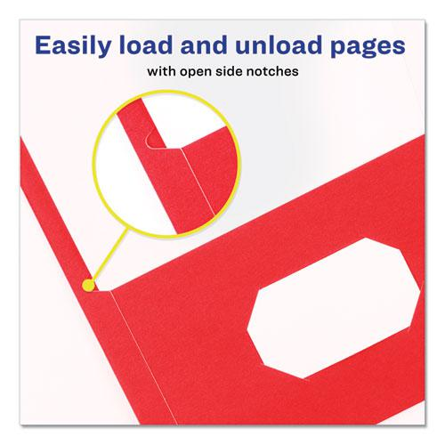 Two-Pocket Folder, 40-Sheet Capacity, Red, 25/Box. Picture 3