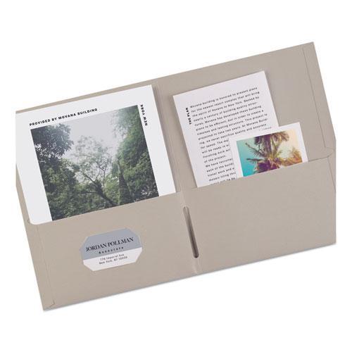 Two-Pocket Folder, 40-Sheet Capacity, Gray, 25/Box. Picture 5
