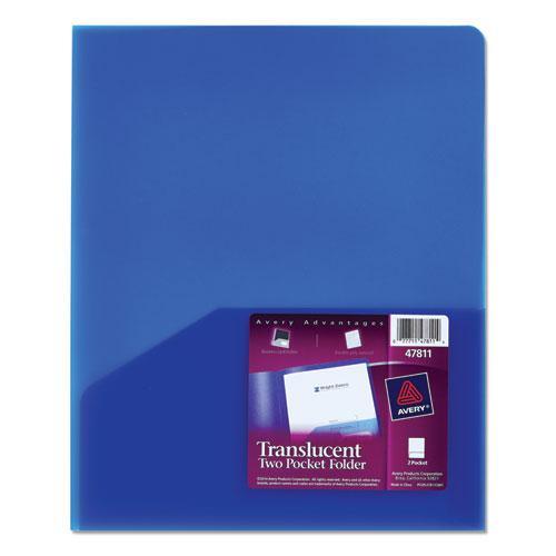 Plastic Two-Pocket Folder, 20-Sheet Capacity, Translucent Blue. Picture 1