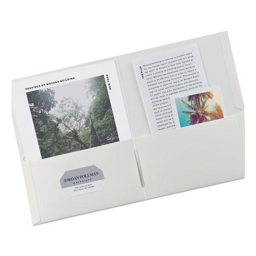 Two-Pocket Folder, 40-Sheet Capacity, White, 25/Box. Picture 6