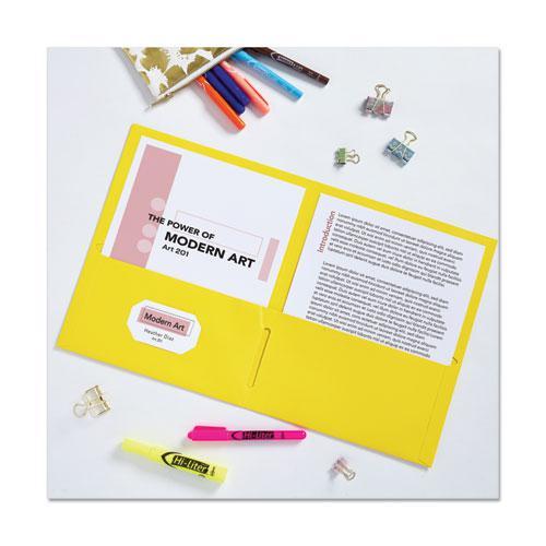 Two-Pocket Folder, 40-Sheet Capacity, Yellow, 25/Box. Picture 2