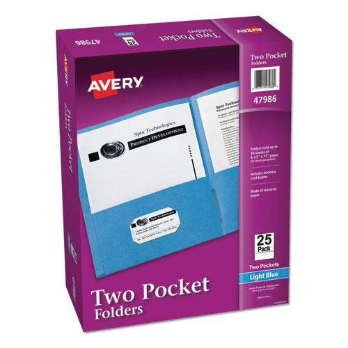 Two-Pocket Folder, 40-Sheet Capacity, Light Blue, 25/Box. Picture 1