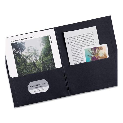 Two-Pocket Folder, 40-Sheet Capacity, Black, 25/Box. Picture 4