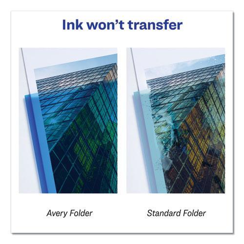 Plastic Two-Pocket Folder, 20-Sheet Capacity, Translucent Blue. Picture 4