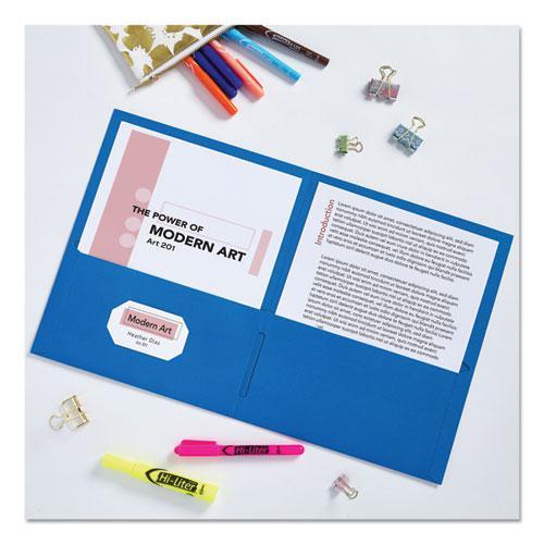 Two-Pocket Folder, 40-Sheet Capacity, Light Blue, 25/Box. Picture 3