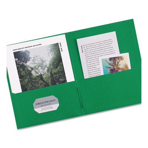 Two-Pocket Folder, 40-Sheet Capacity, Green, 25/Box. Picture 2