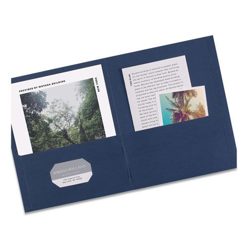Two-Pocket Folder, 40-Sheet Capacity, Dark Blue, 25/Box. Picture 3
