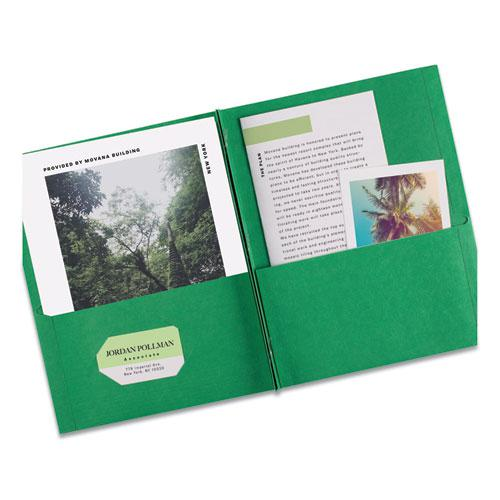 """Two-Pocket Folder, Prong Fastener, Letter, 1/2"""" Capacity, Green, 25/Box. Picture 3"""