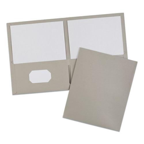 Two-Pocket Folder, 40-Sheet Capacity, Gray, 25/Box. Picture 7