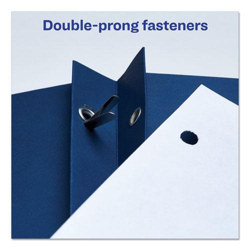"Two-Pocket Folder, Prong Fastener, Letter, 1/2"" Capacity, Dark Blue, 25/Box. Picture 3"