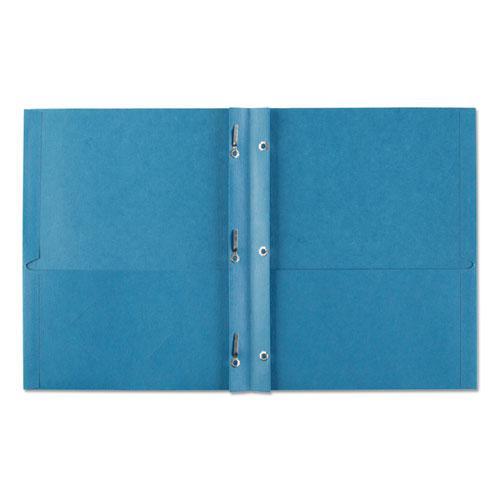 "Two-Pocket Folder, Prong Fastener, Letter, 1/2"" Capacity, Light Blue, 25/Box. Picture 4"