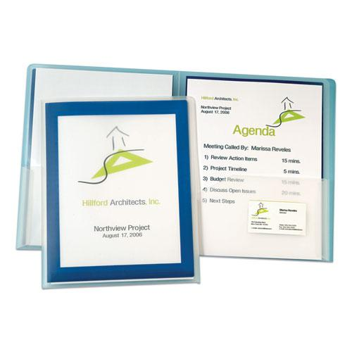Flexi-View Two-Pocket Polypropylene Folder, Translucent/Navy, 2/Pack. Picture 4