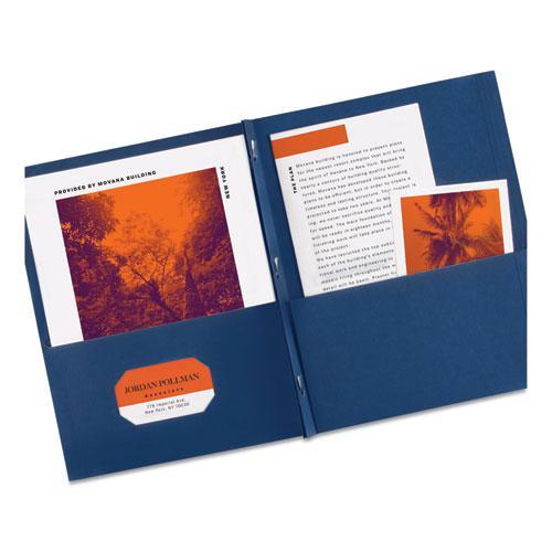 "Two-Pocket Folder, Prong Fastener, Letter, 1/2"" Capacity, Dark Blue, 25/Box. Picture 2"