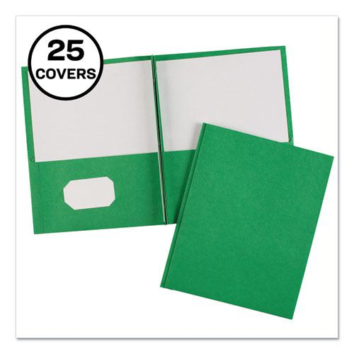 """Two-Pocket Folder, Prong Fastener, Letter, 1/2"""" Capacity, Green, 25/Box. Picture 1"""