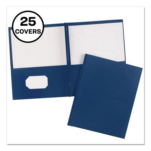 "Two-Pocket Folder, Prong Fastener, Letter, 1/2"" Capacity, Dark Blue, 25/Box. Picture 1"
