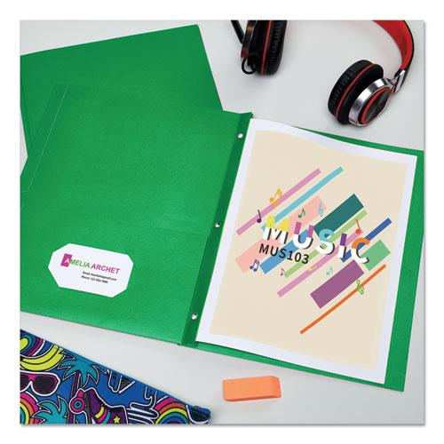 """Two-Pocket Folder, Prong Fastener, Letter, 1/2"""" Capacity, Green, 25/Box. Picture 2"""