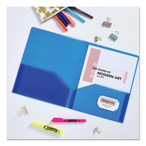 Plastic Two-Pocket Folder, 20-Sheet Capacity, Translucent Blue. Picture 7