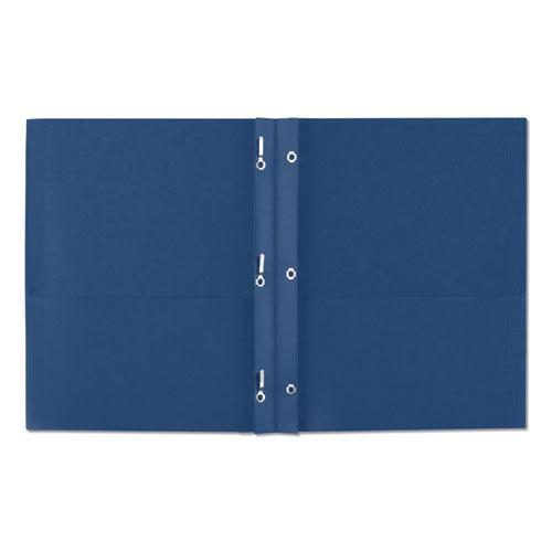 "Two-Pocket Folder, Prong Fastener, Letter, 1/2"" Capacity, Dark Blue, 25/Box. Picture 7"