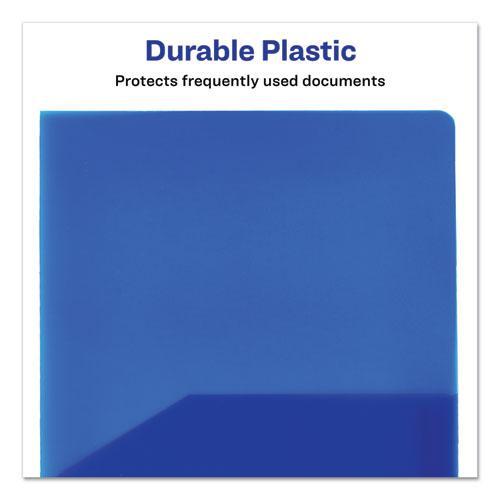 Plastic Two-Pocket Folder, 20-Sheet Capacity, Translucent Blue. Picture 3