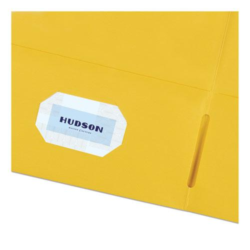 Two-Pocket Folder, 40-Sheet Capacity, Yellow, 25/Box. Picture 4