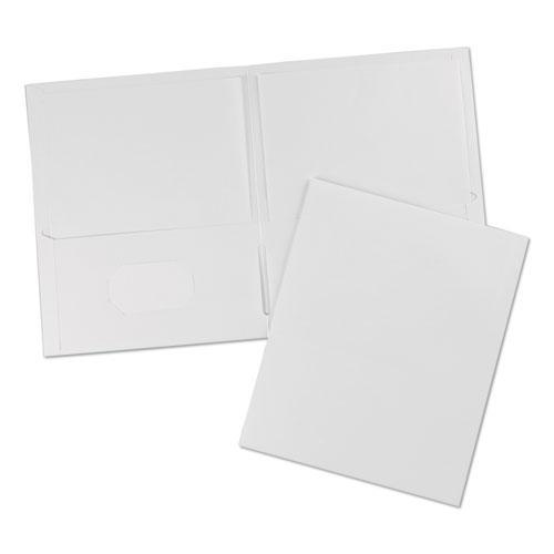 Two-Pocket Folder, 40-Sheet Capacity, White, 25/Box. Picture 2
