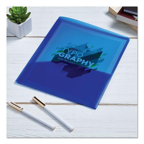 Plastic Two-Pocket Folder, 20-Sheet Capacity, Translucent Blue. Picture 5