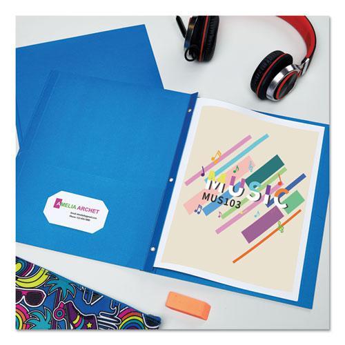 "Two-Pocket Folder, Prong Fastener, Letter, 1/2"" Capacity, Light Blue, 25/Box. Picture 3"