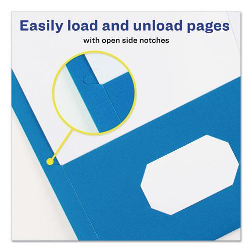 Two-Pocket Folder, 40-Sheet Capacity, Light Blue, 25/Box. Picture 6