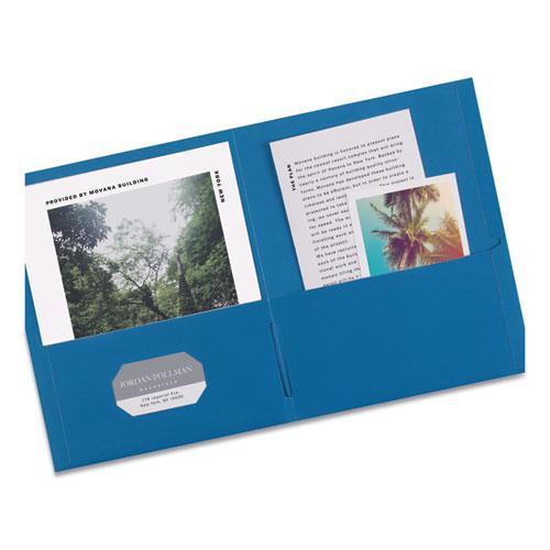 Two-Pocket Folder, 40-Sheet Capacity, Light Blue, 25/Box. Picture 2