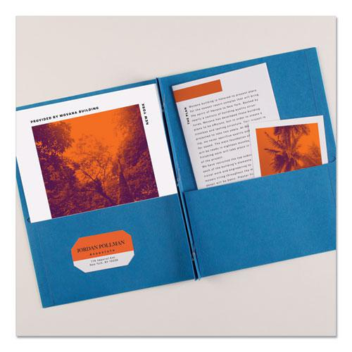 "Two-Pocket Folder, Prong Fastener, Letter, 1/2"" Capacity, Light Blue, 25/Box. Picture 2"