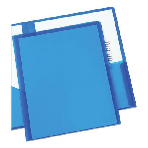 Plastic Two-Pocket Folder, 20-Sheet Capacity, Translucent Blue. Picture 6