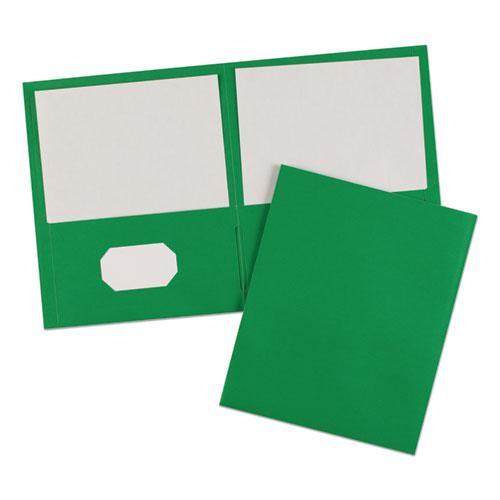 Two-Pocket Folder, 40-Sheet Capacity, Green, 25/Box. Picture 6