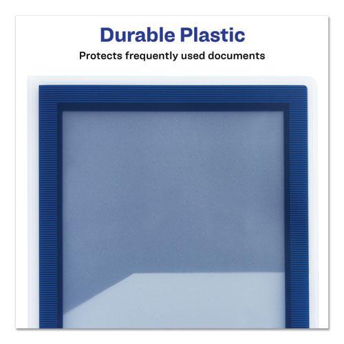 Flexi-View Two-Pocket Polypropylene Folder, Translucent/Navy, 2/Pack. Picture 3