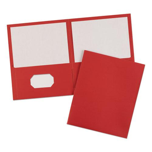 Two-Pocket Folder, 40-Sheet Capacity, Red, 25/Box. Picture 5