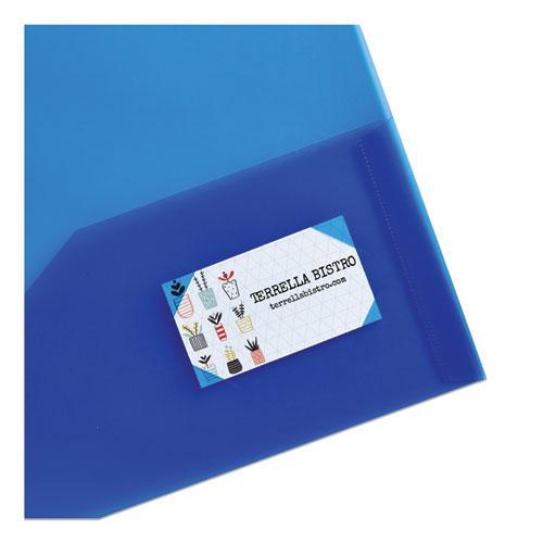 Plastic Two-Pocket Folder, 20-Sheet Capacity, Translucent Blue. Picture 2