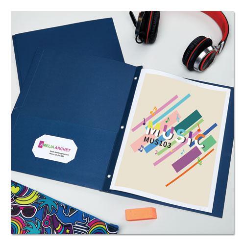 "Two-Pocket Folder, Prong Fastener, Letter, 1/2"" Capacity, Dark Blue, 25/Box. Picture 8"