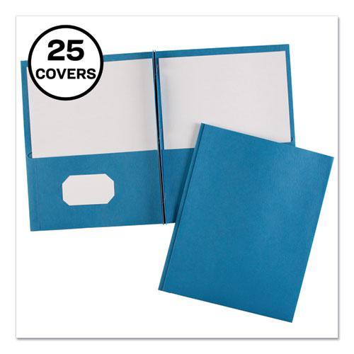 "Two-Pocket Folder, Prong Fastener, Letter, 1/2"" Capacity, Light Blue, 25/Box. Picture 1"