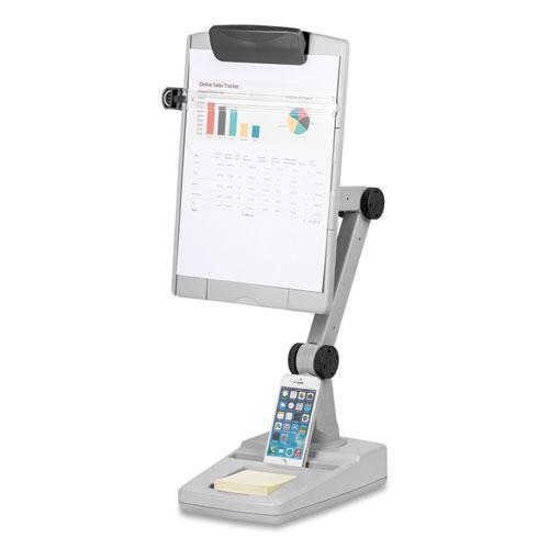 Flex Arm Weighted Base Copyholder, Plastic, 150 Sheet Capacity, Platinum. Picture 1