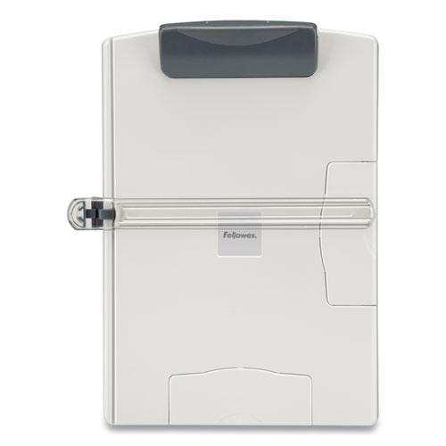 Desktop Easel-Style Copyholder, Plastic, 150 Sheet Capacity, Platinum/Gray. Picture 2